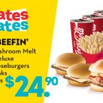 DEAL: Wendy's – Single Mushroom Melt, Double Deluxe, 2 Kids Cheeseburgers, 4 Value Drinks, 4 Value Fries for $24.90
