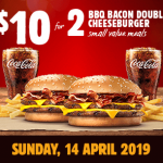DEAL: Burger King App – 2 Small BBQ Bacon Double Cheeseburger Meals for $10 (14 April 2019)