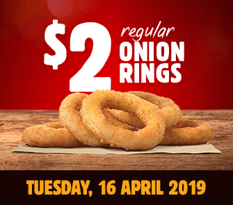 DEAL: Burger King App - $2 Onion Rings (16 April 2019) - frugal feeds nz