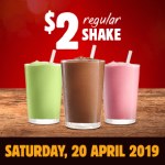 DEAL: Burger King App – $2 Regular Shake (20 April 2019)