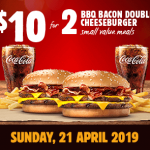 DEAL: Burger King App – 2 Small BBQ Bacon Double Cheeseburger Meals for $10 (21 April 2019)