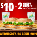 DEAL: Burger King App – 2 Small Crispy Chicken Meals for $10 (24 April 2019)