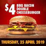 DEAL: Burger King App – $4 BBQ Bacon Double Cheeseburger (25 April 2019)