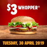 DEAL: Burger King App – $3 Whopper (30 April 2019)