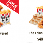 DEAL: KFC – Free Delivery on That's a 10 Delivered and The Colonel's Choice Meals