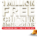 DEAL: McDonald's – 1 Million Free Chicken McNuggets Giveaway with App on 28 October 2020