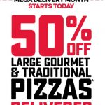 DEAL: Domino's – 50% off Large Traditional/Gourmet Pizzas Delivered (until 29 November 2020)