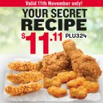DEAL: KFC – $11.11 Singles Day Deal with 2 Secret Recipe Pieces, 3 Secret Recipe Tenders and 6 Chicken Nuggets (11 November 2020)